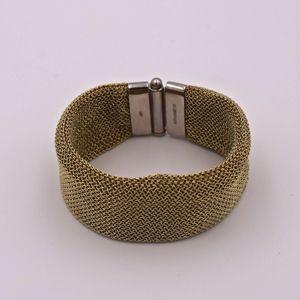 A&M Gold Mesh Small Cuff Bracelet w/Silver Closure